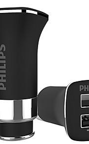 필립스 dlp2011 자동차 충전기 2 usb 포트 3.4a dc 12v-24v
