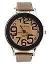 Coreia do estilo preppy pu pulseira de couro grande estilo de marcação de quartzo relógio de pulso homens mulheres - marrom