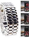Silvery Metal Strip Digital Lava Style Iron Sport Womens Red LED Faceless Wrist Watch