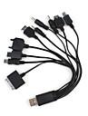 Cable Con Adaptacion a 10 Conectores Diferentes a USB, para Carga y Trasmision de Datos para Telefonos Movil/MP3/MP4/GPS
