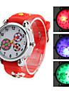 enfants de style de silicone de football analogique montre-bracelet à quartz avec de la lumière conduit à clignoter (rouge)