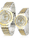 Heren / Dames / Voor Stel Dress horloge Kwarts Legering Band Zilver / Goud Merk-