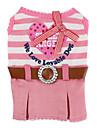 vestido estilo listrado com cinto para cães (xs-xl, rosa)
