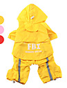 Dog Rain Coat Red / Pink / Yellow Spring/Fall Letter & Number