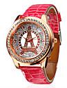 diamant tour modele rose PU bande de montre-bracelet a quartz analogique des femmes