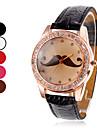 quartzo analógico bigode padrão de discagem diamante caso pu banda relógio de pulso das mulheres (cores sortidas)