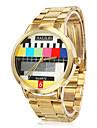 унисекс модели ТВ золото стали Кварцевые аналоговые наручные часы