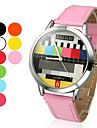 женская телевизор модели круглый корпус PU Группа Кварцевые наручные часы (разные цвета)