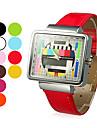 reloj de las mujeres patron de tv caja cuadrada de pulsera de cuarzo banda pu (colores surtidos)