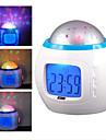 Relógio e Alarme Despertador Musical com Projetor de Céu Estrelado (Branco, 3xAAA)