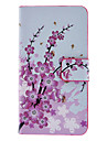 Pink Wintersweet Pattern Full Body Case with Card Slot and Built-in Matte PC Back Cover for iPhone 4/4S