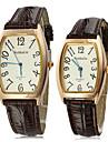Or Cadran en cuir brun Grain PU bande de montre bracelet à quartz analogique du couple
