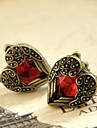 Women\'s  charming Heart-shaped red Crystal earrings