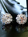 Women\'s Simple shiny Rhinestone Sunflower zircon earrings E576