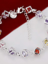 Silver Plated Square Cube Copper Chain Bracelet