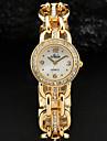 Women'S White Simple Dial Crystal Gold Silver Alloy Bracelet Quartz Watch Cool Watches Unique Watches