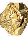 Kvinders Gold Flower Cover Alloy Quartz Ring Watch
