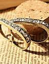 rétro anneau minimaliste double doigt de diamant d'anneau (couleur aléatoire)