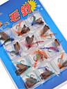 12 pcs Moscas Conjuntos de Isco Iscas Moscas Conjuntos de Isco Cores Sortidas g/Onca mm polegada,Metal Pesca de Isco