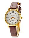 Женская Простой Круглый циферблат PU Группа Кварцевые аналоговые наручные часы