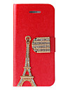 Gold Eiffel Tower Covered Full Body Case with Stand and Diamond Button for iPhone 5/5S (Assorted Colors)