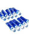 T5 0.15W 1-LED 10LM Blue Light LED Bulb for Car (12V,10 pcs)