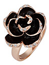 Sweet Women\'s Gold Gold Plated Rose Statement Rings(Black)(1 Pc)