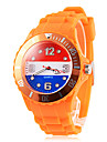 Men\'s Netherland Flag Pattern Orange Silicone Band Quartz Wrist Watch Football Cup Gift