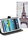 For Samsung Galaxy Case Card Holder / with Stand / Flip / Pattern Case Full Body Case Eiffel Tower PU Leather Samsung S2