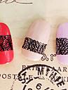 12PCS Resumo Filial Forma Black Lace Art Nail Stickers NO.12