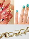 Hollywood loved Skull Bowknot Heart Nail Simple Band Mid Finger Top Stacking Rings Set 7pcs/set