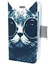 아이폰 4/4S를위한 눈 PU 가죽 상자 똑똑한 고양이