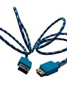 3ft Flettet Fabric Micro USB 3.0 Data Charger Cable Samsung Note 3 N9000 S5 i9600