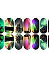 12PCS 다채로운 오로라 그리고 엘크 빛나는 네일 아트 스티커