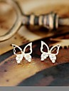 Generous Half Diamond Butterfly Stud Earring (Gold and Silver)