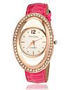 Diamond Oval Case PU bande de montre bracelet a quartz pour femmes (couleurs assorties)
