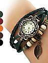 Women\'s Watch Bohemian Leaf Pendent Leather Weave Bracelet