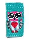 Biru Big Eye Owl Pola PU Kulit Kasus dengan Card Slot dan Stand untuk Samsung Galaxy Mini I9190 S4