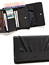 4in1 Black PU Quadrate Plicated Multi-function Clutch Card Holder Change Purse Wallet Phone Bag