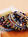 Acrylique de chaine et de lien Bracelet Boheme de mode multi couches elastiques Perles de femmes (9 pieces)