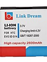 Link Dream High Quality 3.7V  2600mAh Cell Phone Battery for HTC EVO 3D G14 G18 G21 (EVO 3D)