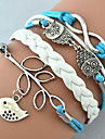 Bracelet Charm Bracelet Wrap Bracelet Leather Bracelet Multilayer Alloy Owl Leaves and Infinity Charms Handmade Leather Bracelet Jewelry 1pc