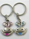 (Une paire) beau lapin Interessant de haute qualite en acier inoxydable Porte-cles Symbole de l\'amour