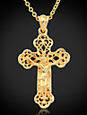 U7® Crucifix High Quality Jeu Cro Pendant 18K Gold Plated Choker Necklace Hollow Cro Fahion Jewelry
