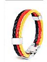 european football memorial 22 centimetros unissex pulseira de couro (vermelho, azul) (1 pc)