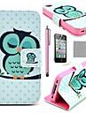 Etui Portefeuille Coco Fun® pour iPhone 4/4S avec Support, Port Cartes, Stylet et Protection Ecran, Motif Hibou Endormi