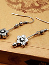 Vintage Ancient Silver Little Flower Alloy Drop Earring(1 Pair)