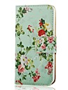 COCO FUN® Flower Green Pattern PU Leather Full Body Case with Film, Stand and Stylus for iPhone 5/5S