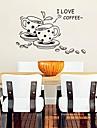 φλιτζάνι καφέ διαμορφώσει τη σύγχρονη αυτοκόλλητα χαριτωμένο πλαστικό τοίχο (μαύρο χρώμα x1pcs)