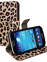 Leopard Print PU Leather Full Body Case with Strap and Sticker for Samsung Galaxy S4 Mini I9190